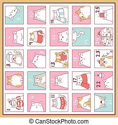 Christmas advent calendar with cute cartoon cats