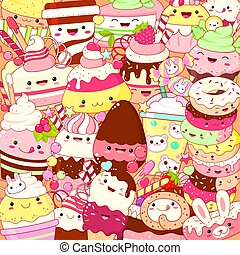Square background with cute sweet desserts in kawaii style with smiling face and pink cheeks. Ice cream, cake, sundae kids, cupcake, donuts. Vector EPS8