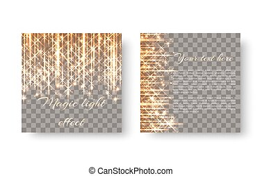 Square background with golden light - Bright shiny golden...
