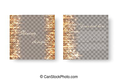 Square background with shining lights - Radiant shimmering ...