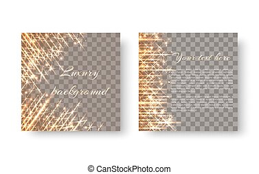 Square background with shiny sparkles - Shining gold...