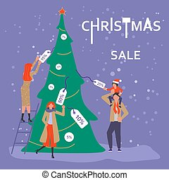 Square Banner for Christmas sale. People running after...