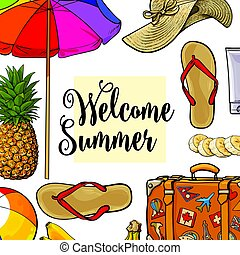Square banner of summertime vacation attributes with place for text, sketch style vector illustration isolated on white background. Hand drawn summer objects, symbols, elements as banner, card, poster