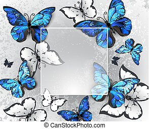 Square banner with blue butterflies