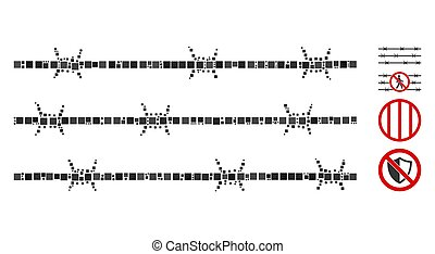Square Barbwire Fence Icon Vector Mosaic - Mosaic Barbwire ...