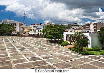 Square before House of Columbus Santo Domingo Dominican republic in summer