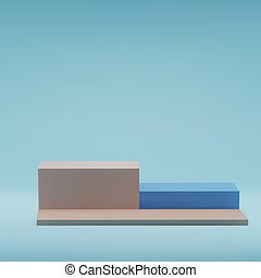 Square beige pastel podiums , on blue background, stage in studio, minimal trendy showcase for marketing product display, exhibition. 3d realistic vector illustration.