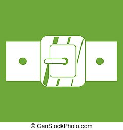 Square belt buckle icon green