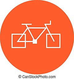 square bicycle orange icon sign
