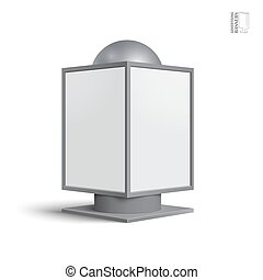 Square billboard lightbox, on a white background