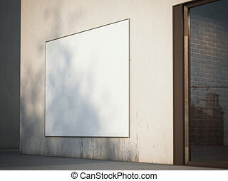 Square billboard on the wall. 3d rendering