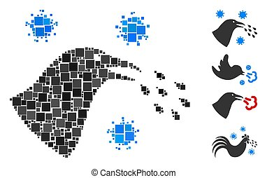 Square Bird Flu Infection Icon Vector Mosaic
