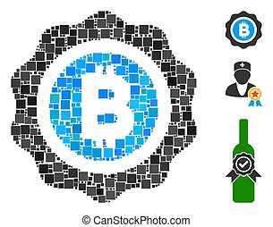 Square Bitcoin Seal Icon Vector Collage