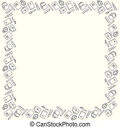Square black and white frame for September 1 from pencils, pens, compasses, alarm clocks, notebooks, textbooks, backpacks and backpacks. Coloring book. Vector.