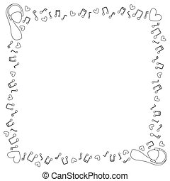 Square black and white frame of musical notes, hearts and women's heads in the headphones. Coloring. Vector.