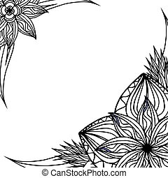Square black and white frame with doodle leaves and flowers. Vector element for invitations, greeting cards, cards, and your design