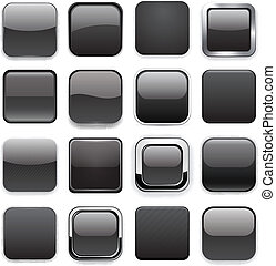 Square black app icons. - Set of blank black square buttons ...