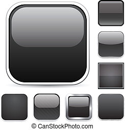 Square black app icons. - Set of blank black square buttons...