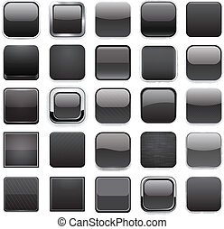 Square black app icons.