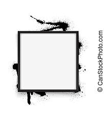 Square black frame on white background with streaks of paint. Vector illustration