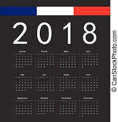 Square black French 2018 year vector calendar