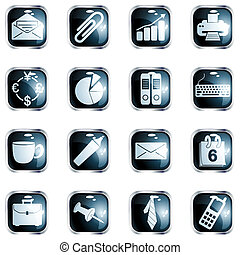 Square black high gloss office buttons - Collection of ...