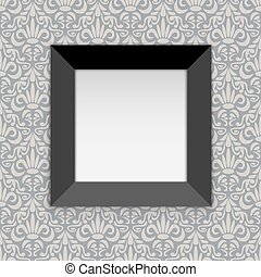 Square black photo frame hanging on the wall with white copy space.