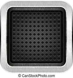 Square blank chrome metal icon empty web button