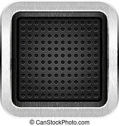 Square blank chrome metal icon empty web button