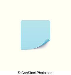 Square blank paper sticker template with bent edge vector illustration isolated.