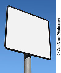 Square blank white sign ready for text.