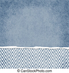 Square Blue and White Zigzag Chevron Torn Grunge Textured Background with copy space at top