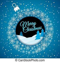 Square blue Christmas card. White Christmas ball made of snowfla