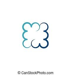 square blue cloud icon logo symbol