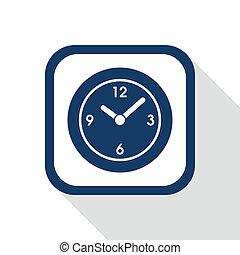 square blue icon clock