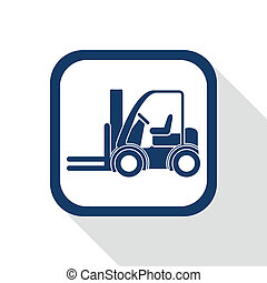 square blue icon forklift truck