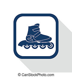 square blue icon inline roller skate boot
