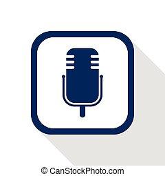 square blue icon microphone