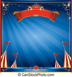 Square blue night circus invitation