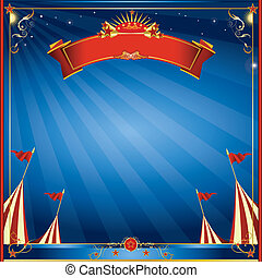 Square blue night circus invitation - A square curcus...