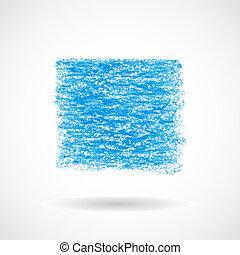 Square blue oil pastel banner. Hand drawn design element....