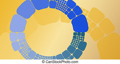 Square blue orange circular gradient geometrical abstract background