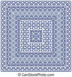 Square blue pattern on a white background.