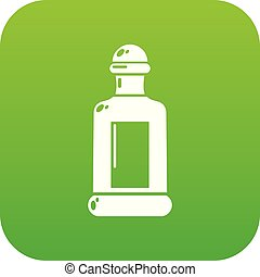 Square bottle icon green vector