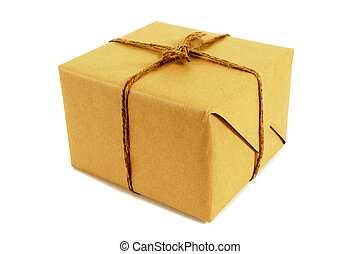 Square brown paper package tied with string