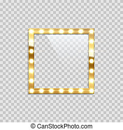 Square bulb frame isolated on transparent background. Vector template.