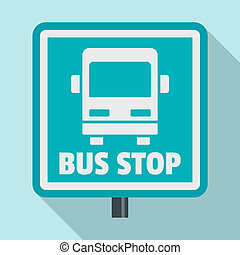 Square bus stop sign icon, flat style