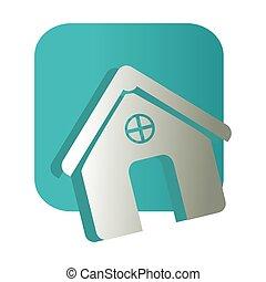 square button and simple facade house icon design