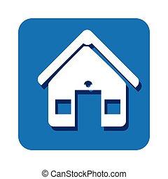 square button facade house icon design