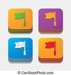 square button: flag